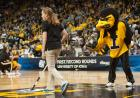 Herky entertains the crowd.