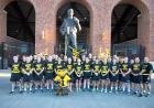 University of Iowa Army ROTC gathers for a photo in front of Kinnick Stadium before departing for the 28th Annual Game Ball Run on Friday, Sept. 11. Justin Torner