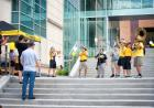 university of iowa alumni band members welcome riders to the ui campus