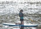 student on paddle board