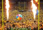 pyrotechnics blaze during on iowa kickoff at kinnick
