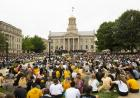 students in front of old capitol during convocation and block party 2019