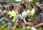 new students applaud during convocation and block party 2019