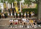 new students, spirit squad, and band in front of president's residence during convocation and block party 2019
