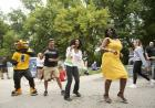 herky, dr. shivers dance during convocation and block party 2019