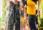 Herky dumps ice water on Sally Mason as part of the ice bucket challenge