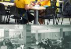 Students socializing in the IMU, present day and in 1956