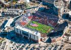 Aerial of Kinnick Stadium during a card stunt