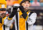 Marching band member playing