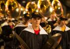 cymbal player in hawkeye marching band