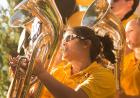 Members of the Marching Band perform at the Block Party.