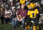herky mascot with fans