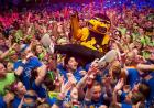 Herky crowd surfs at Dance Marathon