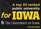 "Advertisement reading ""A top 30 ranked public university for Iowa."""