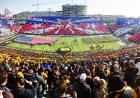 Panorama of stars and stripes card stunt