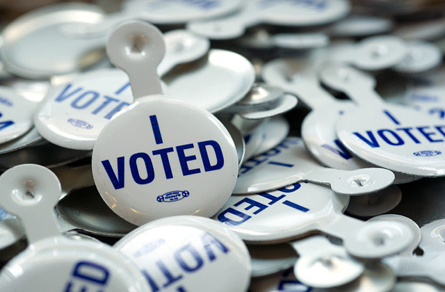 """Big pile of """"I voted"""" buttons"""