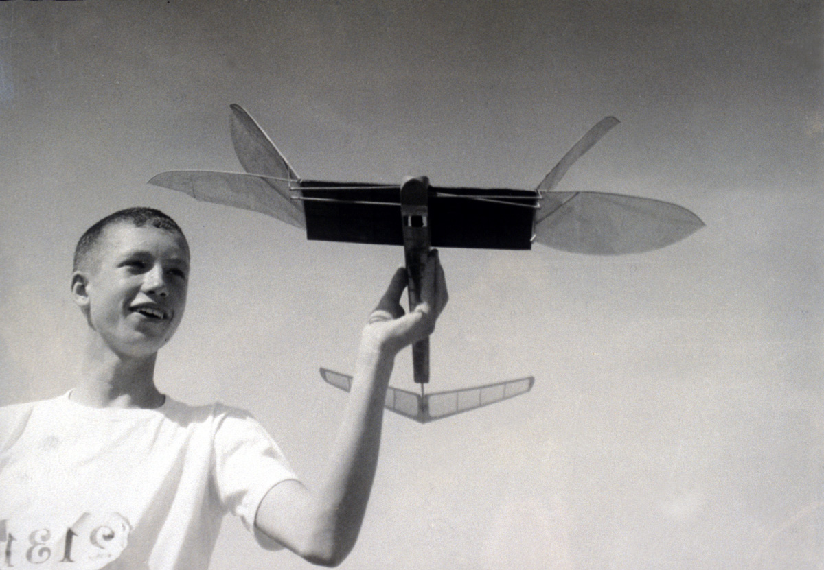Don Gurnett in the 1950s with his ornithopter