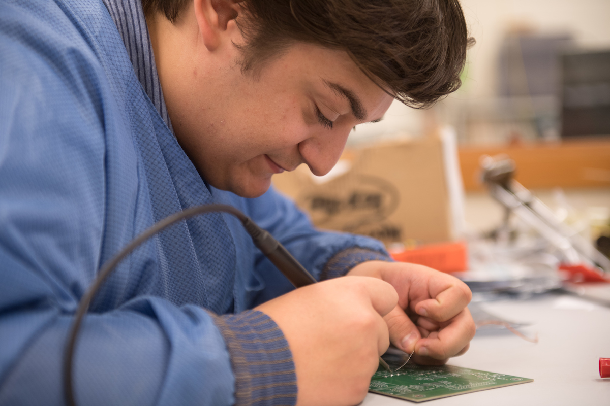 student working in physics and astronomy lab