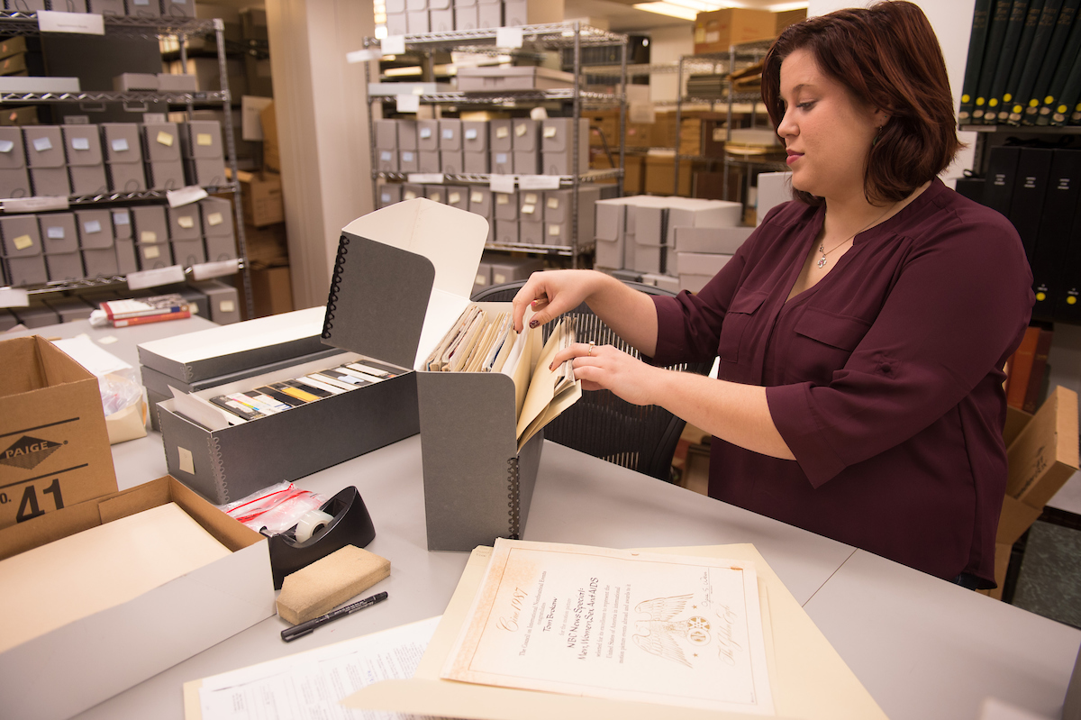grad student working on brokaw collection