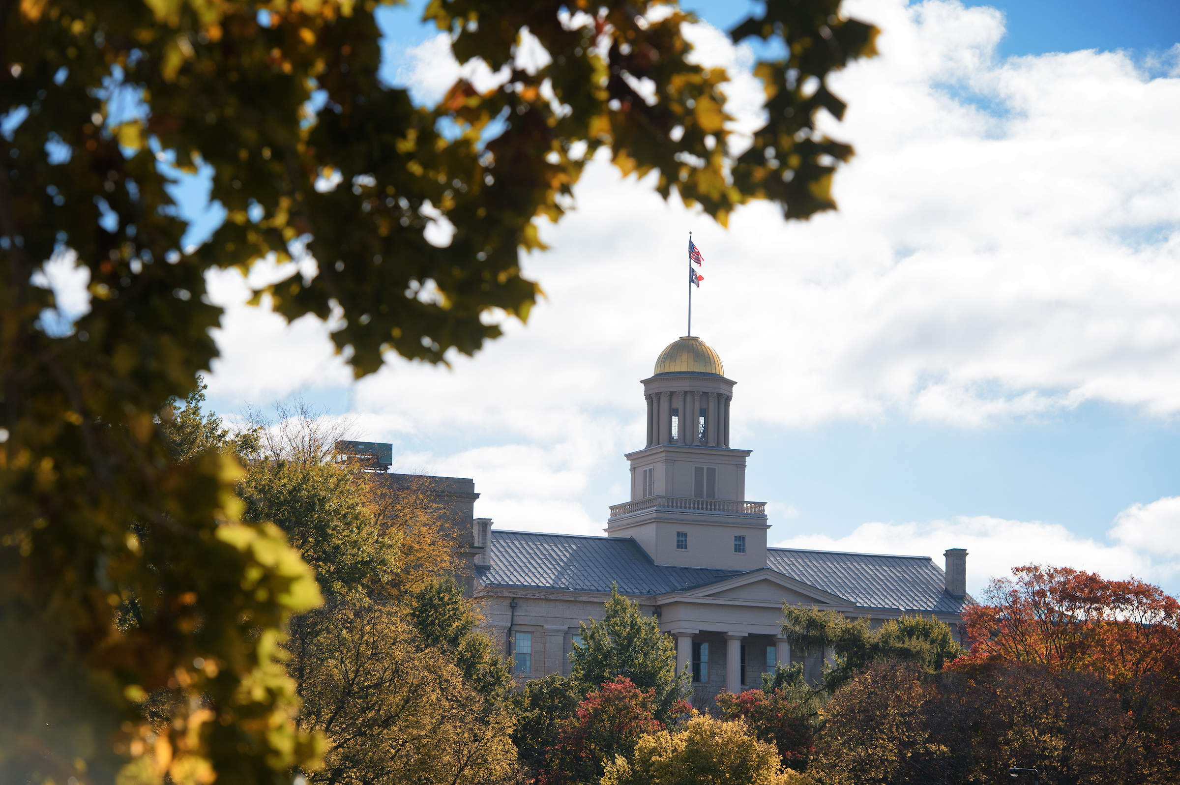 old capitol with fall leaves