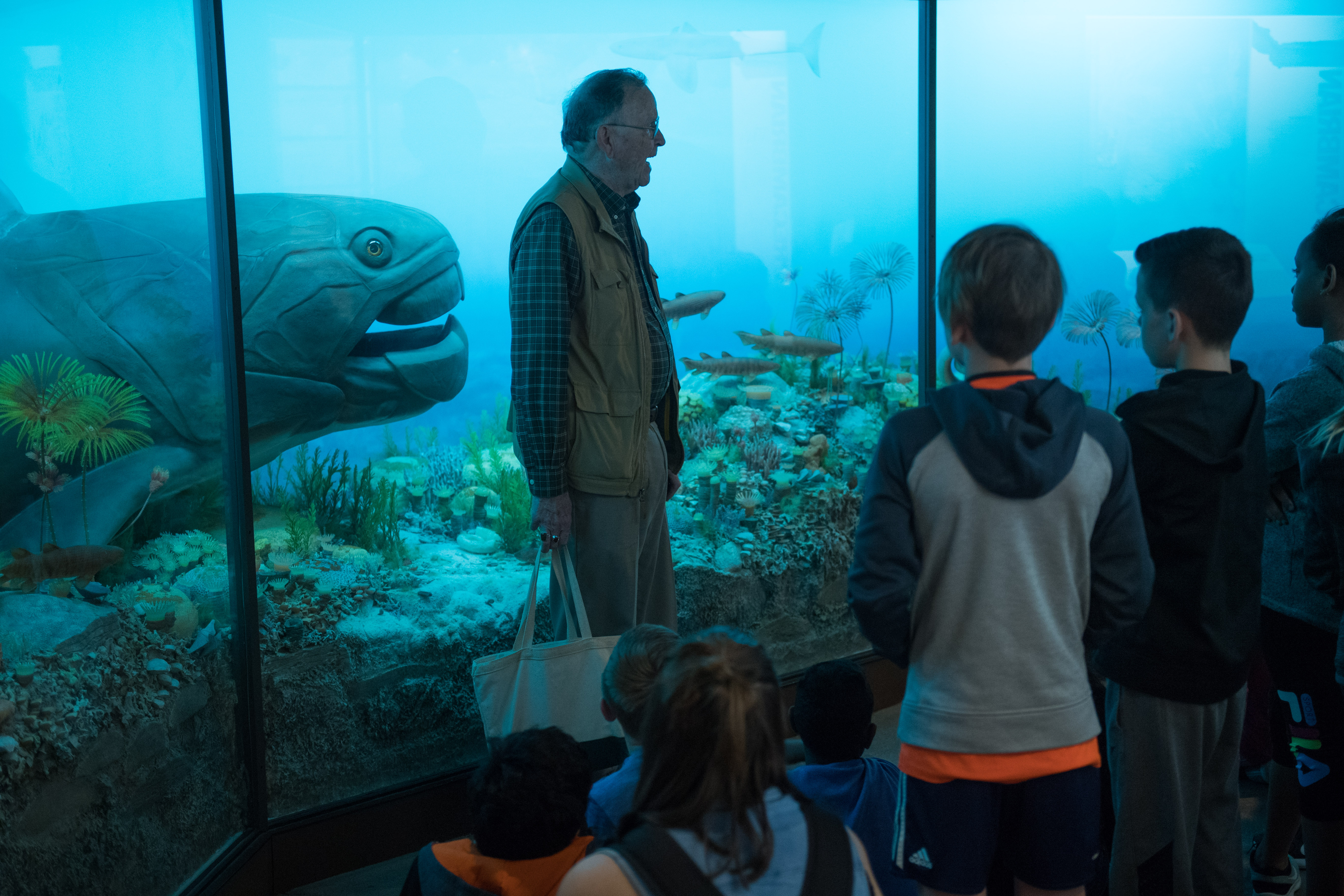 ken atkinson and elementary students by natural history museum dunkleosteus