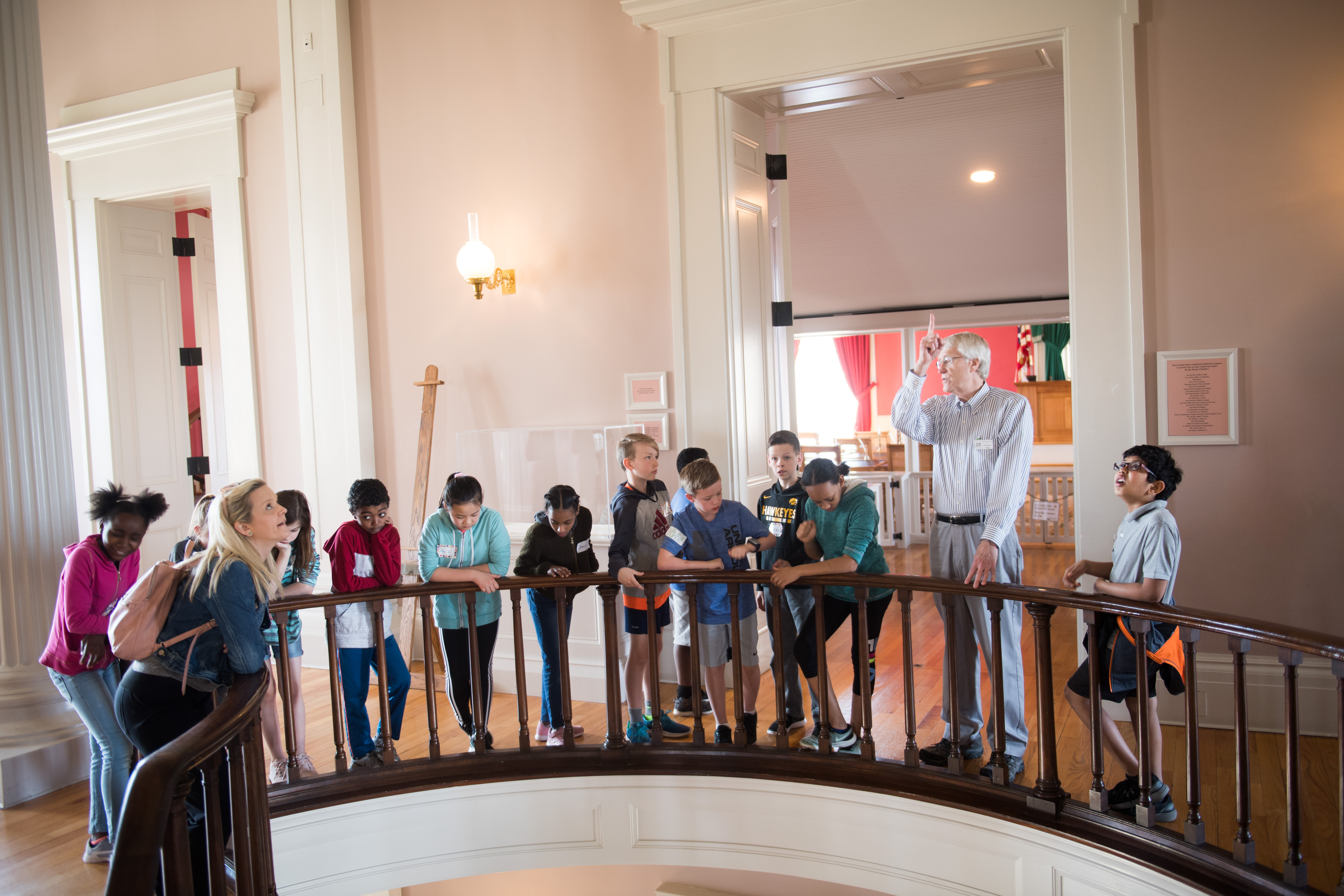 elementary class tour of old capitol museum