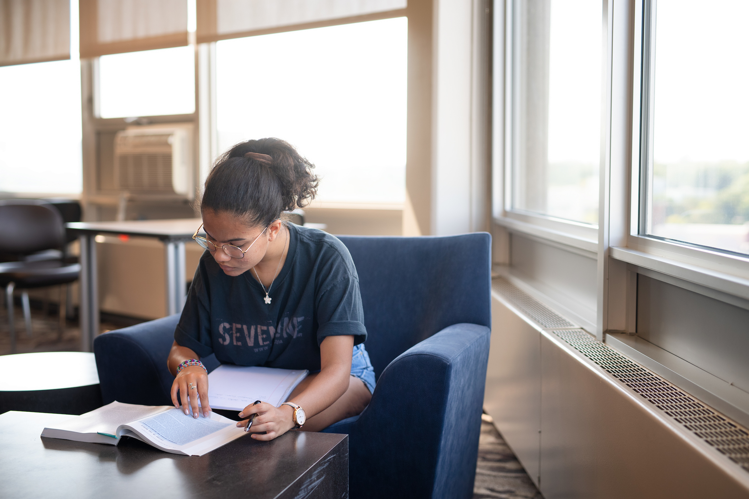 student studying in stanley hall