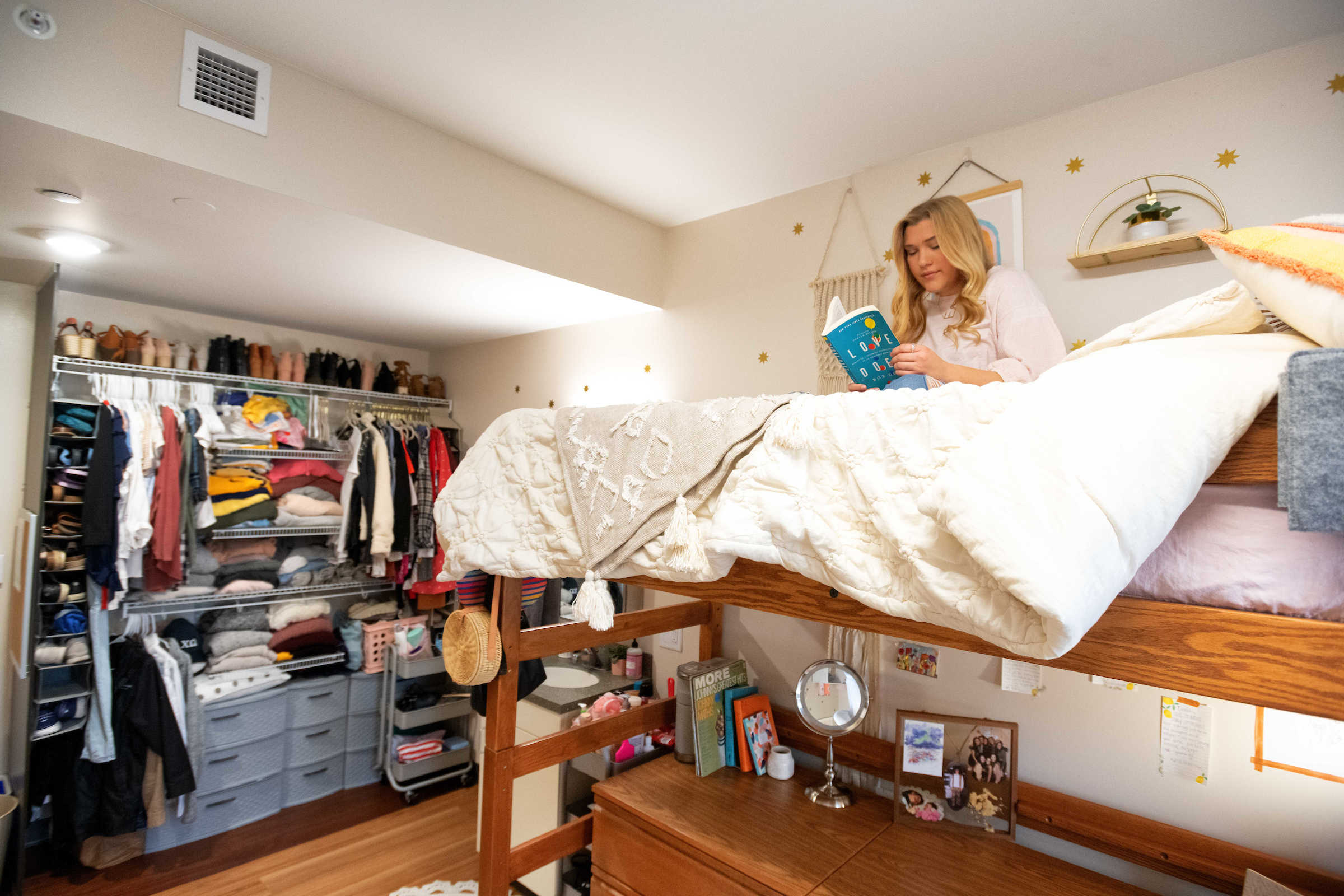 student on bunk bed