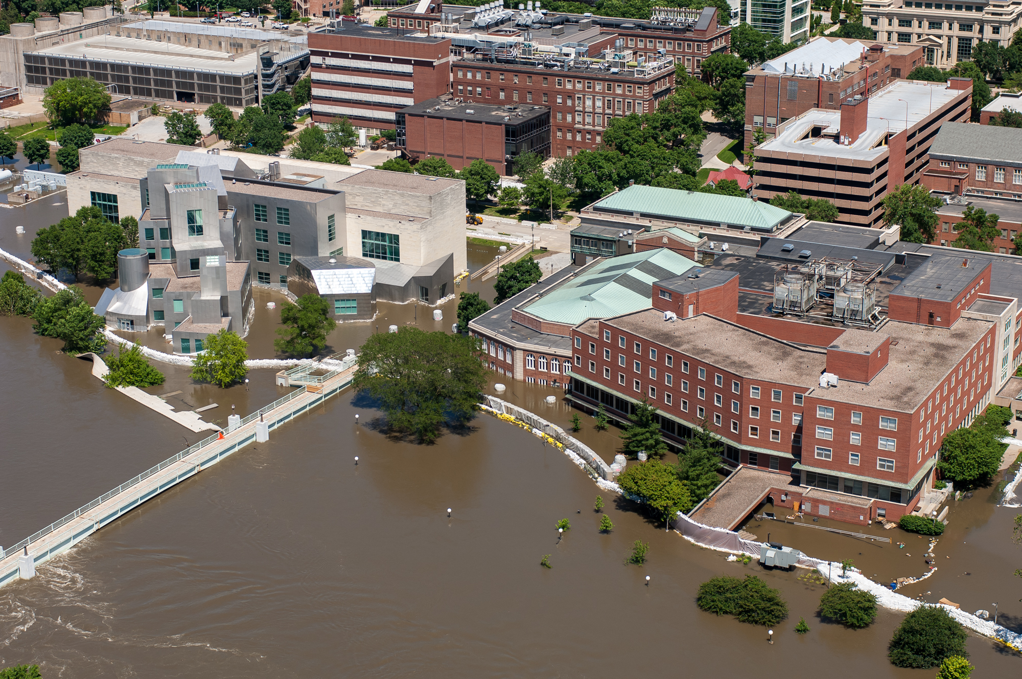 Aerial view of the IMU during 2008 flood
