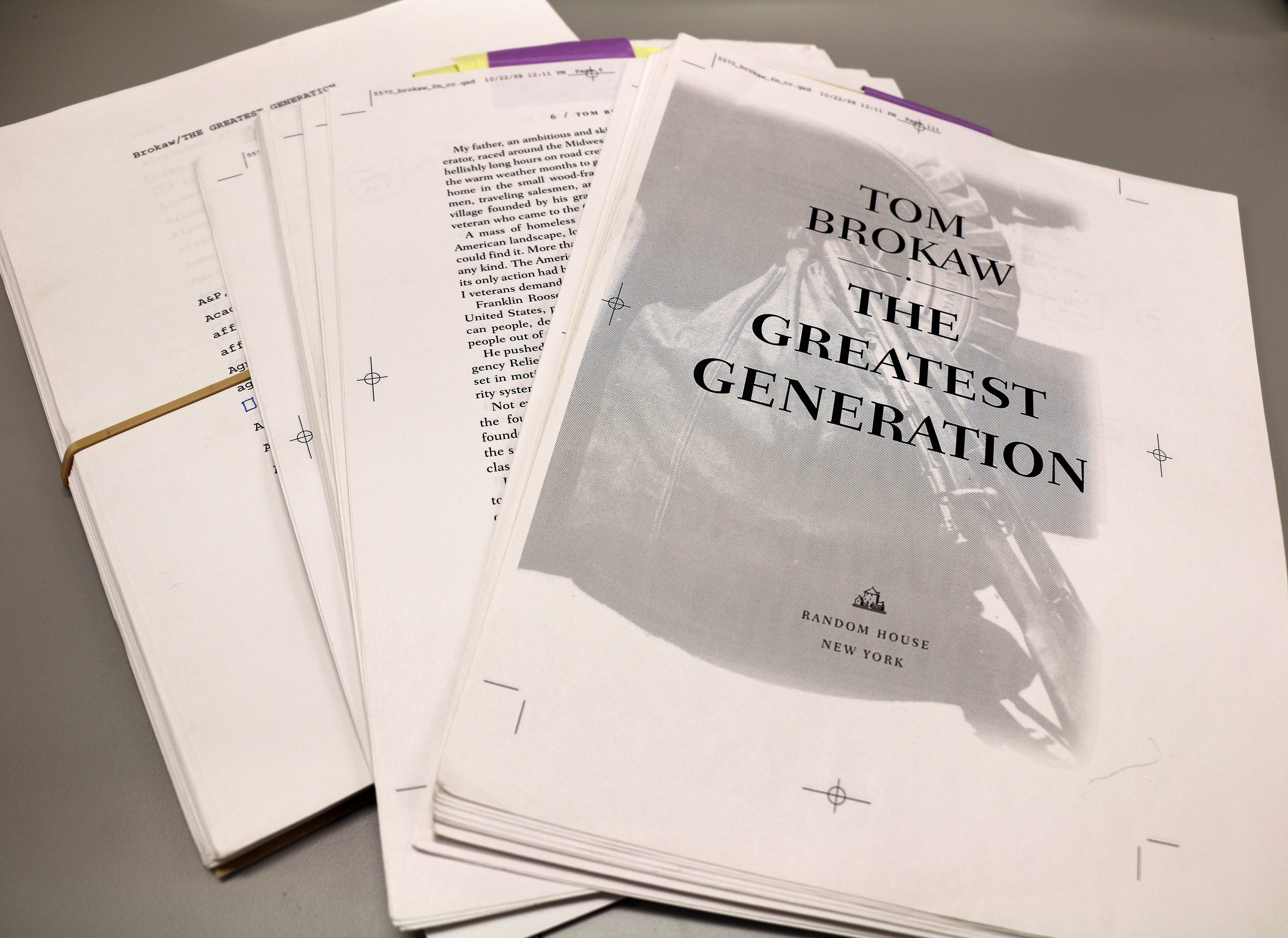 """A galley proof of Brokaw's book, \""""The Greatest Generation,\"""" as it appears in the Papers of Tom Brokaw."""