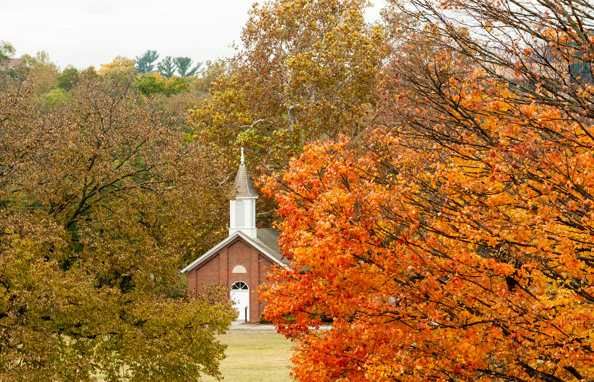 Danforth Chapel among fall foilage