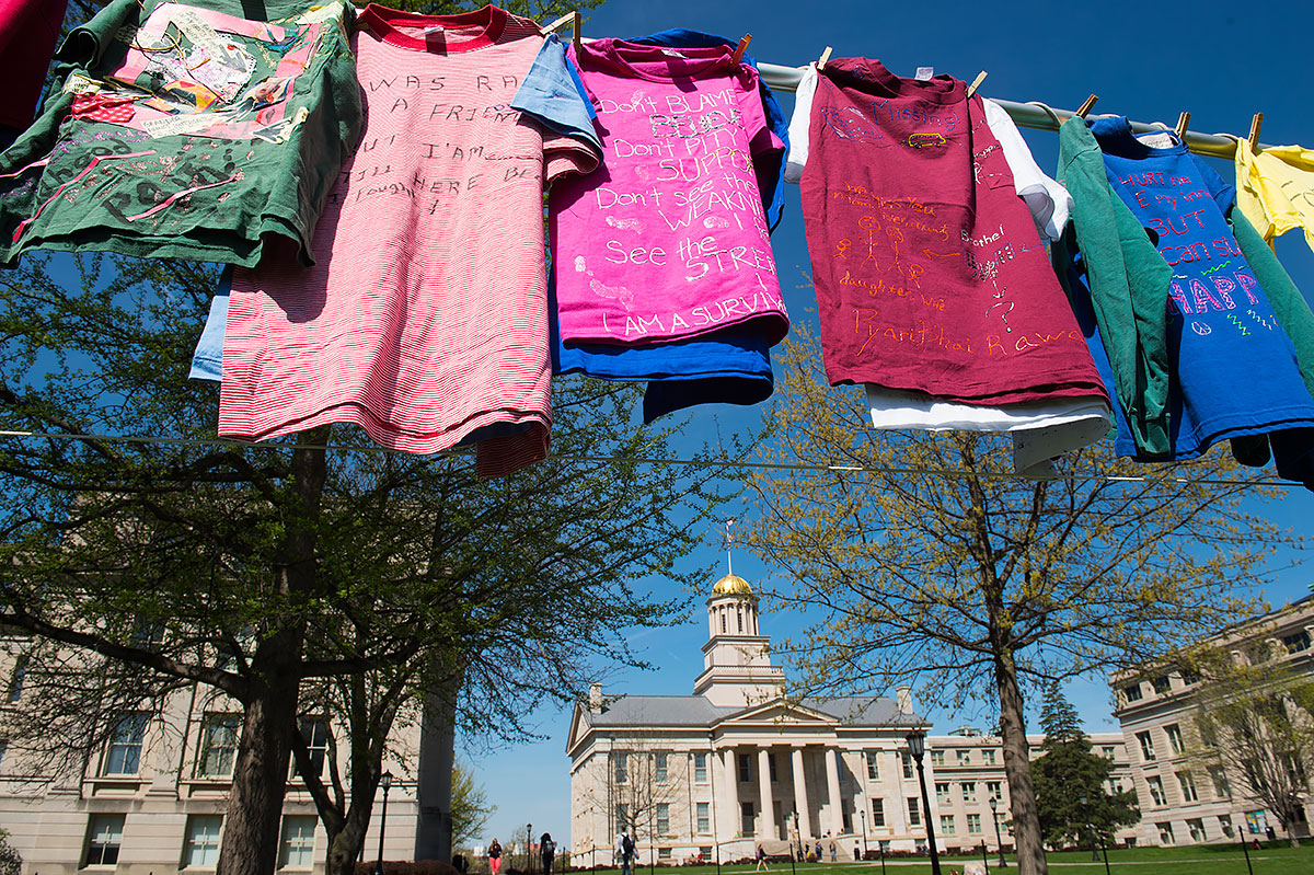 Clothesline project on the Pentacrest