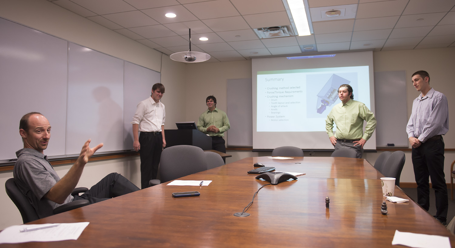 Engineering students giving presentation
