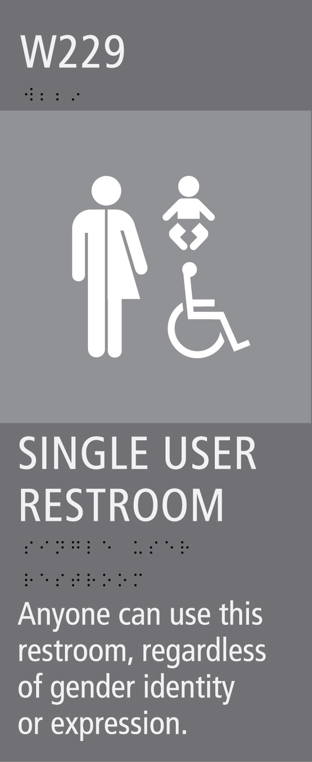 restroom sign indicating that it is available to anyone regardless of gender identity