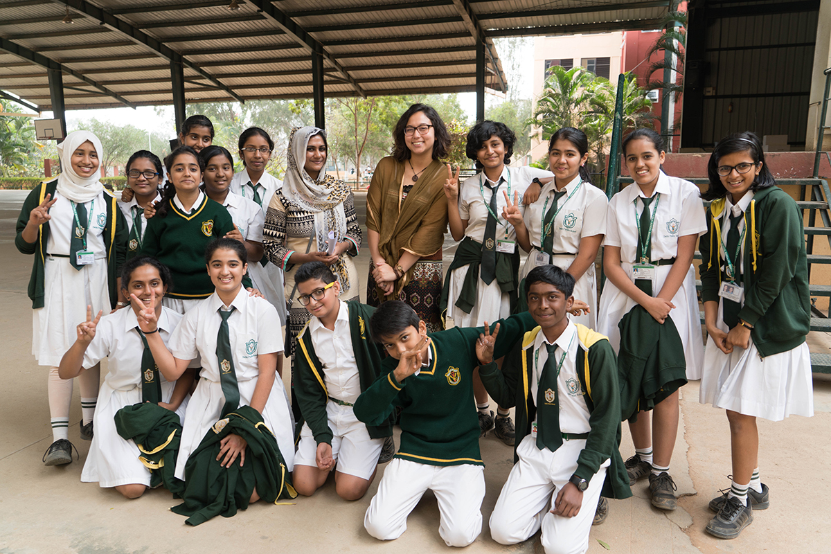 ui student with children in india