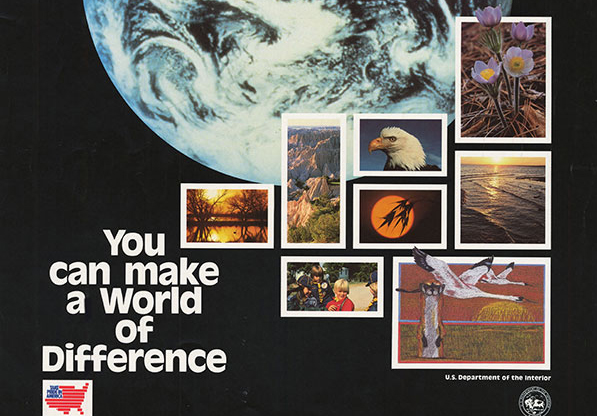 old gold earth day poster