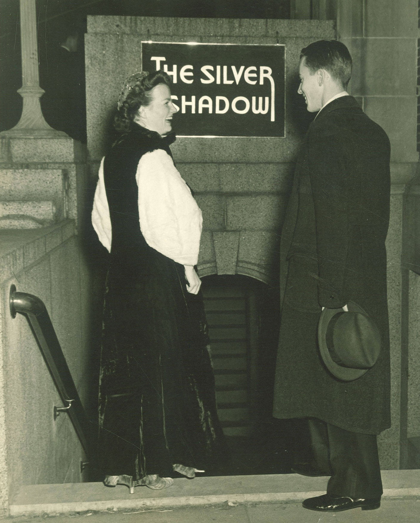 Black-and-white image of Silver Shadow entrance