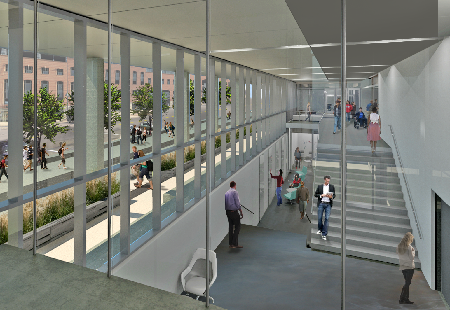 rendering of new psychological and brain sciences building, interior view