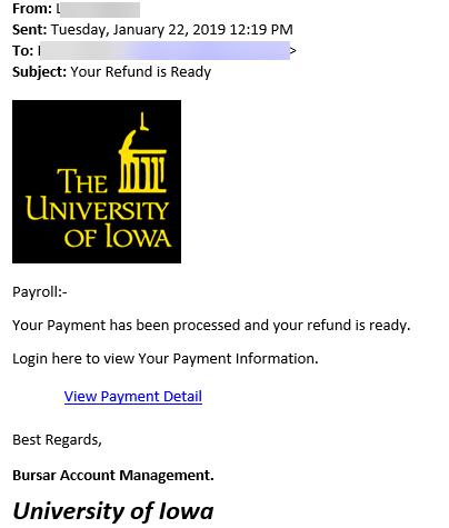 phishing attempt that offers a reward