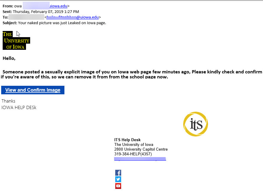 phishing attempt that aims to scare