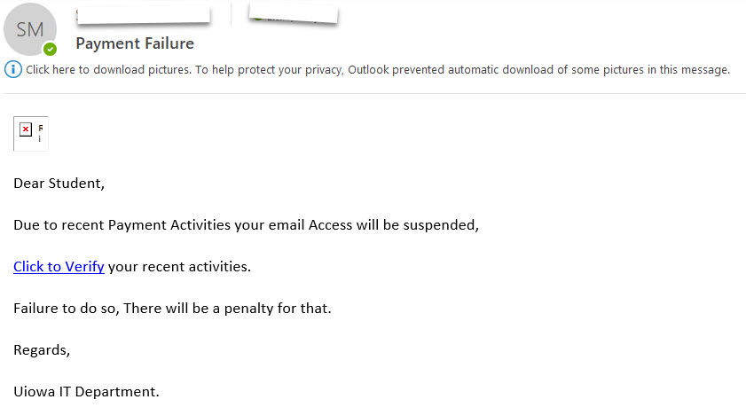 phishing attempt that threatens a penalty