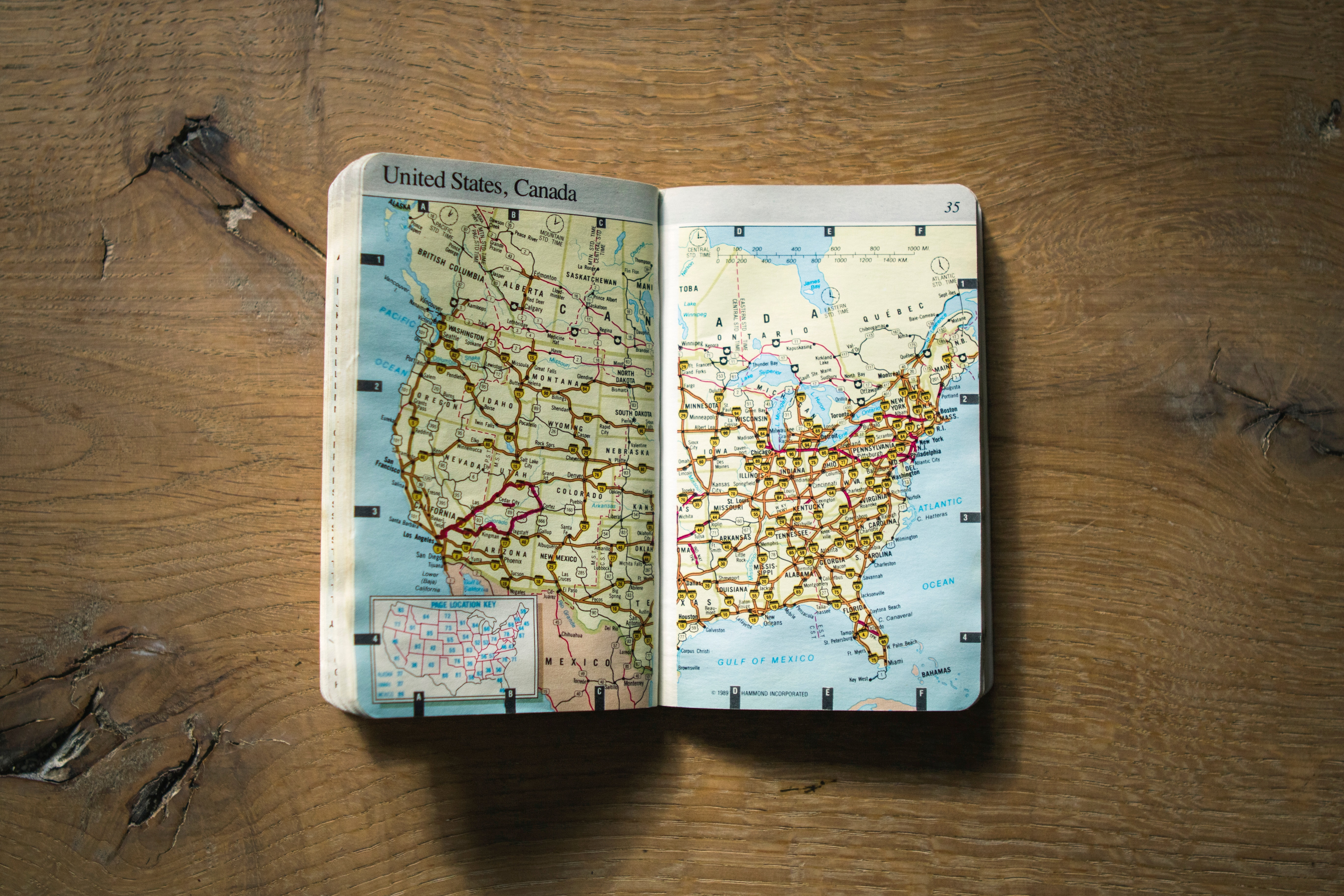 us travel map on table