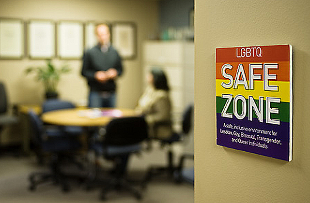 safe zone sign in foreground, two people talking in background