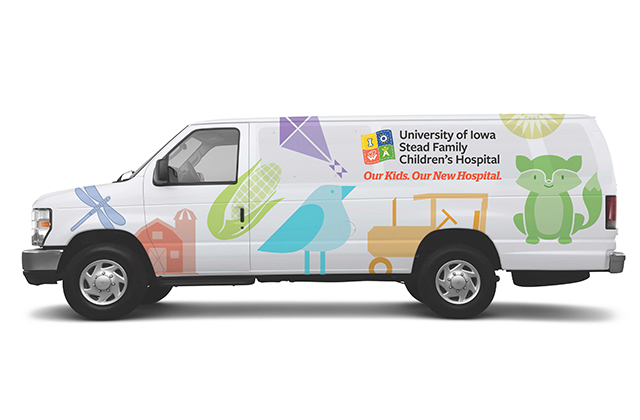 van with children's hospital visuals