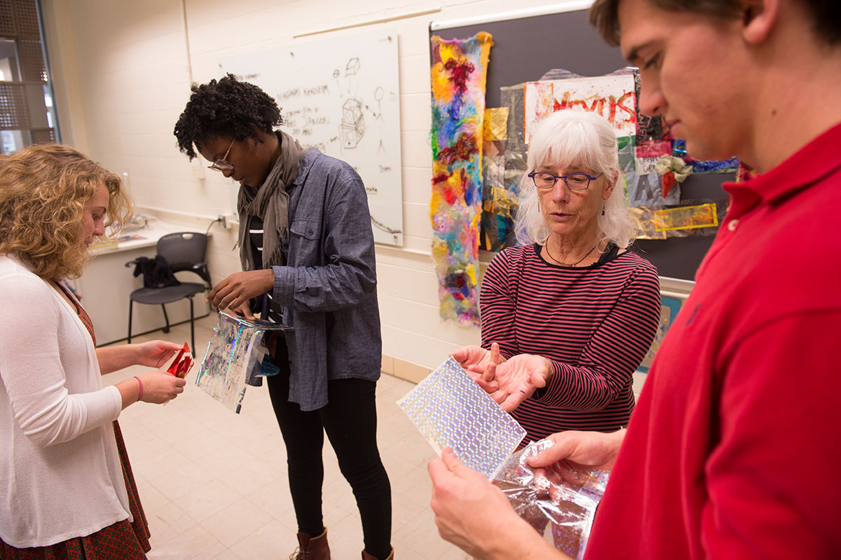 Deanne Wortman exposes engineering students to a foil printmaking stamper